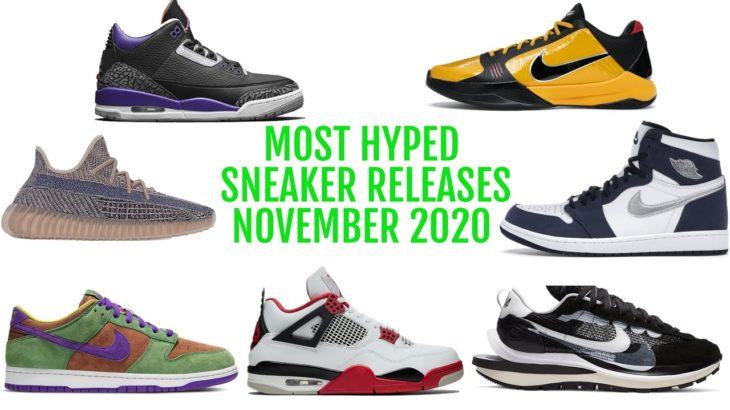 Most Hyped Sneaker Releases of November 2020  – Yeezy 350 Fade – Nike Dunk Veneer – Jordan 1 Navy