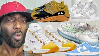 Reebok Question Yellow Toe, Nike Dunk Low Coast, Yeezy Boost 700 Sun, Yeezy Boost 380 Emerges