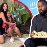 Kim Kardashian & her daughter North,7, wear Kanye's Yeezy shoes celebrating her billionaire status.