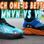 Adidas YEEZY 700 MNVN BRIGHT CYAN VS YEEZY 700 V1 BRIGHT BLUE