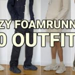 HOW TO STYLE YEEZY FOAM RUNNERS – 10 AFFORDABLE OUTFIT IDEAS – SAND, MINERAL BLUE, MXT MOON GREY