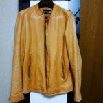 WHO'S WHO gallery フーズフーギャラリー 羊革 シングルライダース レザージャケット オレンジ(古着)を買ってみた。